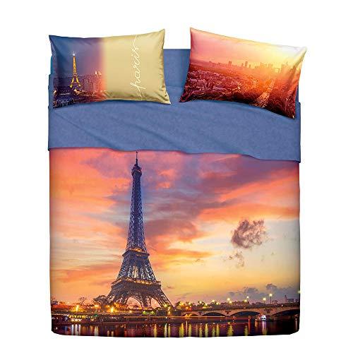 Bassetti Juego Completo de sábanas para Cama Individual Paris Forever