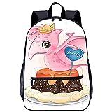 WBLWBL Mochila unisex con bandolera de hombro Lindo dinosaurio sentado en la mochila de pastel 31 * 14 * 45cm con bolsillos Mochila personalizada para escolares