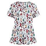 Blusas médicas Estampadas navideñas Uniforme de SPA Salón de Belleza Ropa de Trabajo Laboratorio Tienda de Mascotas Pantalones Trabajadores de la Salud Ropa de Trabajo