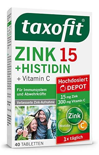 taxofit® Zink 15 + Histidin Depot Tabletten | Für Abwehrkräfte und das Immunsystem | 40 Tabletten