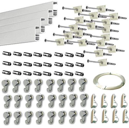 MARCS ARIAS SL Pack Basic RM de 12 Metros Guías de Aluminio (Blanco Mate) con 24 colgadores Nylon para Colgar Cuadros (Blanco Mate)