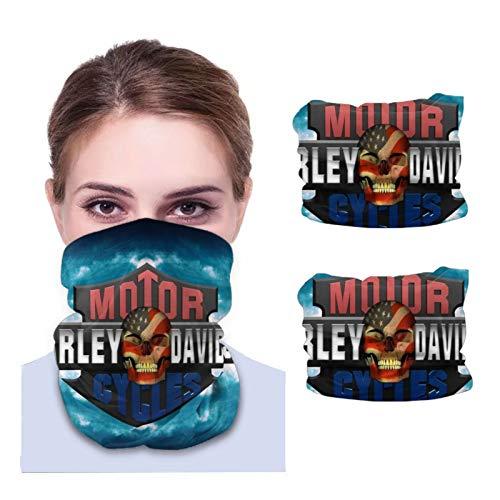 ONLED Calentador de cuello de microfibra para adultos, bufanda variada, bandanas faciales, polaina de cuello, suave, bufanda, parabrisas, pasamontañas, (2 paquetes) logotipo de Harley Davidson