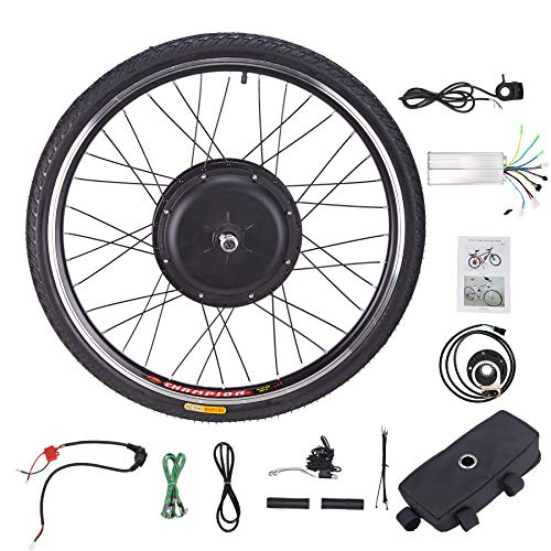 Sfeomi Kit de Conversión de Bicicleta Eléctrica 48V 1000W Kit de Conversión de Bicicleta 26'' Rueda Electric Bike Conversion Kit con Controlador de Modo Dual (para Rueda Delantera)