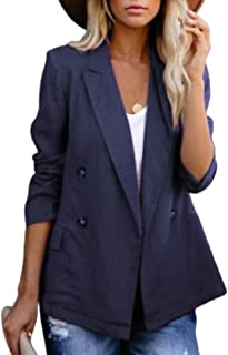 Women Casual Long Sleeves Candy Double-Breasted Suit Coat Jacket Open Blazer