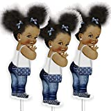 Denim Baby Shower Decorations, Set of 3 Table Centerpieces, Birthday Decor, African American Girls
