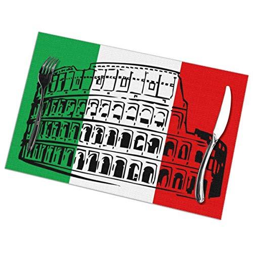 Mantel individual de PVC con bandera italiana de Italia con aislamiento térmico y resistente a las manchas, para mesa de comedor, cocina y mesa