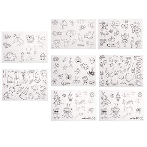 P Prettyia 8Fogli Lots Design Girls termorestringenti Film di plastica Printable Shrink Foglio di Carta per Realizzare Gioielli bricolage Kids Toys DIY abbellimento
