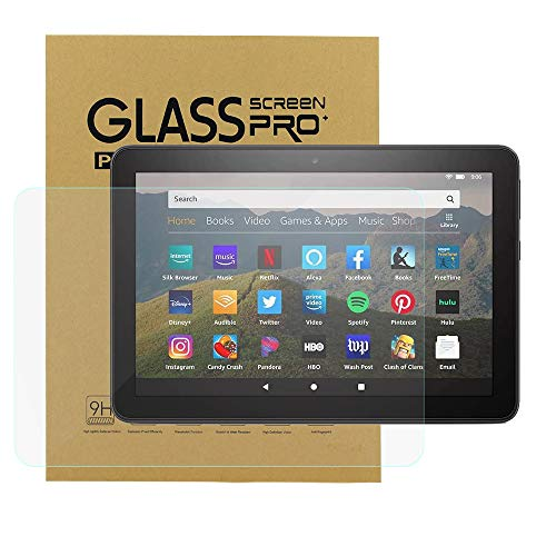 KIQ [1 Pack] Screen Protector for All-New Fire HD 8/Fire HD 8 Plus/Fire HD 8 Kids 10th Generation 2020 Release Tempered Glass Clear Anti-Scratch Bubble-Free Self-Adhere
