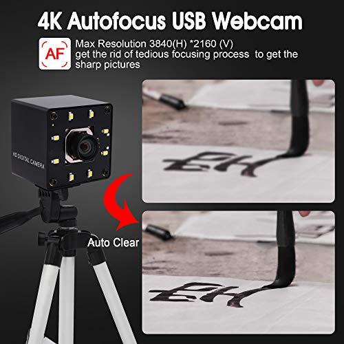 ELP 4K Webcam Autofokus USB Nachtsicht Kamera No-Distortion Objektiv IMX415 Sensor Ultra HD Web Kamera unterstützt 3840x2160@30fps,UVC Compliant videokonferenz Kamera Support Most OS USB4K02AF-KL100W