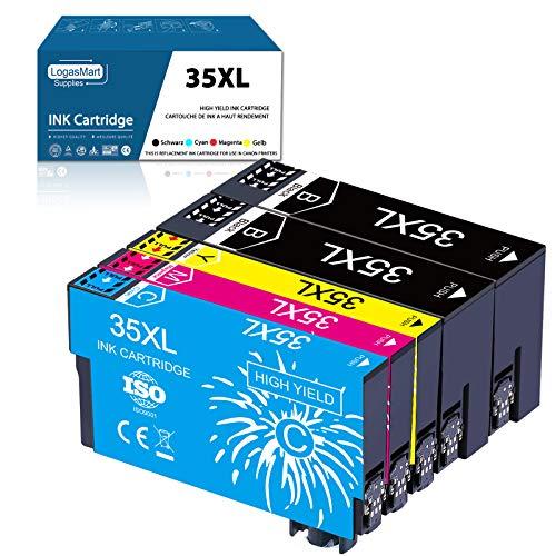 LogasMart 35XL - Cartuccia per stampante Epson 35 35 XL compatibile con Epson Workforce Pro WF-4720DWF WF-4725DWF WF-4740DTWF WF-4730DTWF (2 nero 1ciano 1magenta 1giallo)