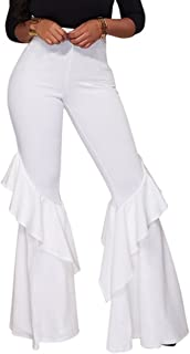 GUOLEZEEV Womens High Waisted Ruffle Flare Fit Pants Solid Color Wide Leg Trousers with Back Zipper