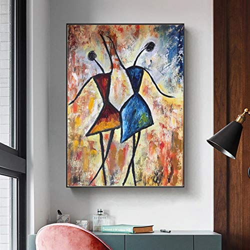 WACZJ Canvas painting Modern Decorative Painting African Art Girls Dancing Colorful Wall Posters Abstract Pictures For Living Room Canvas Prints birthday present