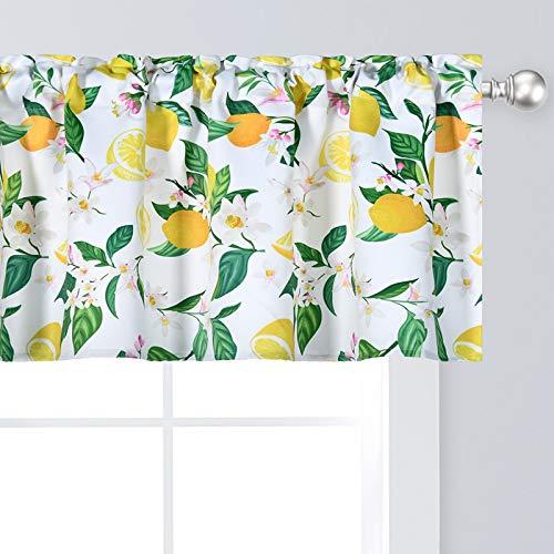 "Yellow Lemon Valance for Windows Vintage Botanical Floral Print 52""x18"" Window Toppers Valance for Girls Children Nursery Kid's Room Basement 1 Panel"