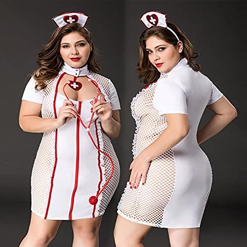 asdsad Ropa Interior de Vestido de Talla Grande para Mujer Porno, Uniforme de Enfermera Sexy, Conjunto de lencería de Cosplay, Disfraces de Ropa erótica para Juegos de rol Sexual