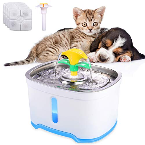 Beacon Pet 2.5L Pet Fountain Stainless Steel, 84oz 4 Modes Drinking Automatic Cat Dog Water Fountain Dispenser for Cats Dogs Pets