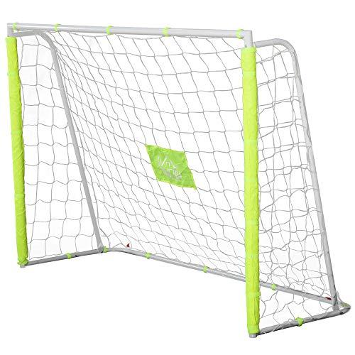 homcom Porta da Calcio per Adulti e Bambini, Rete con Bersaglio Centrale e Pali in Tessuto Oxford Giallo, 186x62x123cm