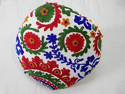 Handicraft Bazar R - Funda de cojín Suzani redonda con bordado vintage, fundas de cojín decorativas, bohemias de algodón otomano Suzani