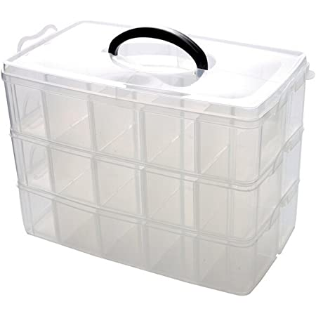 Set 3 Clear Plastic Storage Boxes Clip Top Lids /& Carry Handles Organiser Trays