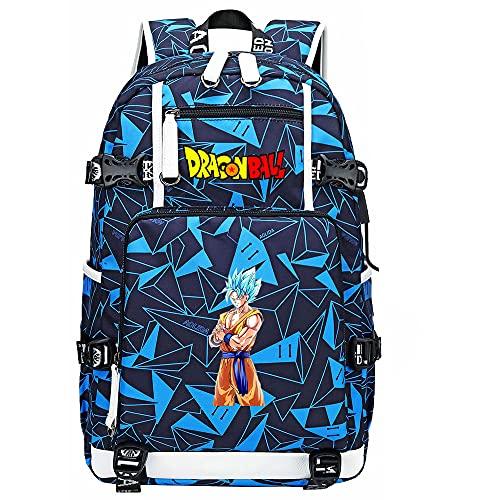 ZZGOO-LL Dragon Ball Son Goku/Vegeta IV/Torankusu Mochila Mochila Casual Impermeable Viaje de Negocios con USB Unisex-A