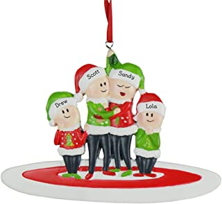 GiftsForYouNow Personalized Ugly Sweater Family Ornament, Family of 4