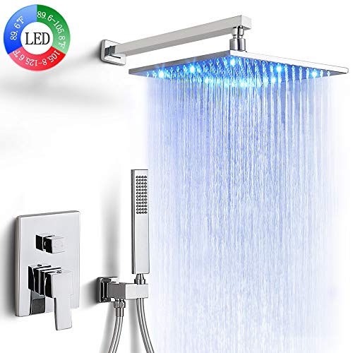 Dr Faucet Wall Mount Bathtub Faucet Set with LED Shower Head 3 Colors 12-Inchs Rainfall Shower System Rough-In Valve, Polished Chrome