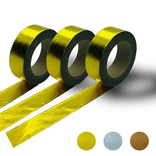 Washi Tape Set Deko Klebeband - Ideal zum Basteln - klebt auf glattem Untergrund – Gold – 3 Rolls   Masking Washitape
