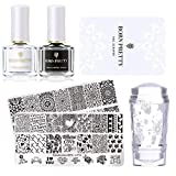 BORN PRETTY Stamping Schablone Nail Stamping Set-2Pcs Image Template Black White Stamping Nail Polish with 1Pc Jelly Clear Stamper