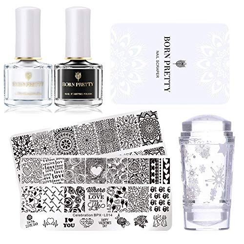 Born Pretty nail stamping set-2pcs immagine modello nero bianco stamping nail polish con 1PC Jelly Clear Stamper