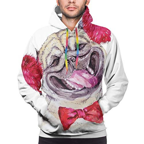 Men's Hoodies 3D Print Pullover Sweatershirt,Watercolor Drawing of Dog with Furry Winter Headphones and A Bow Tie Happy Cute Animal,XXL