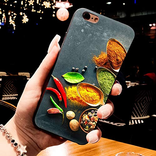 MISC Black Red Food Seasonings iPhone 5 Case Spices Themed 5S Cover 5 SE Chili Pepper Solanaceae Spicy Brown Yellow Green, TPU