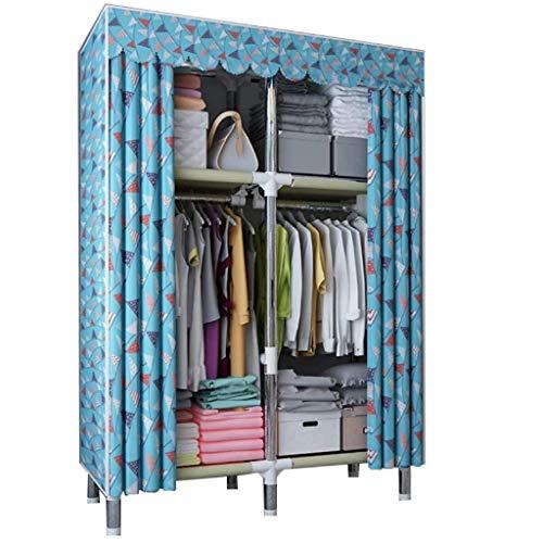 LJP Armario portátil organizador de almacenamiento de ropa para armario, fácil de montar, resistente durabilidad, para dormitorio, armario, organizador (color: azul)