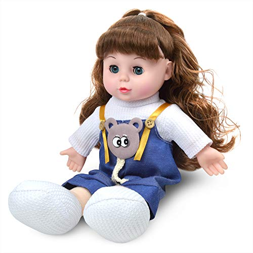 Kavaas Soft Baby Doll 13 Inch Singing Doll with Hair | My First Doll for Infants, Toddlers, Girls, Best Gift for Children Kids (Blue Ada)