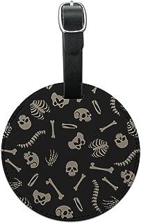 Skeleton Skull Bones Rib Cage and Femur Round Leather Luggage Card ID Tag