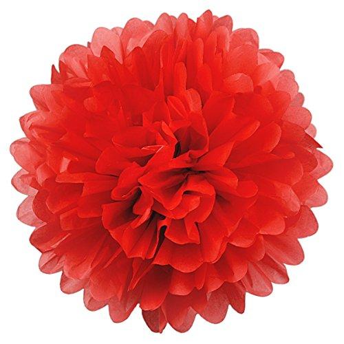 Simplydeko Pompoms 3er Set | Deko Pom-Poms aus Papier | Papierkugel zur Hochzeit oder Party | Papierblumen als Hochzeitsdeko | Seidenpapier Pompons | Rot | 30 cm