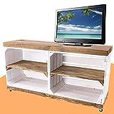 Moooble TV Bank weiß, auf Rollen | braune Deckplatte & Regalböden, aus Holz, 4 Fächer | 100x30x50 cm | moderner TV Schrank, Sideboard