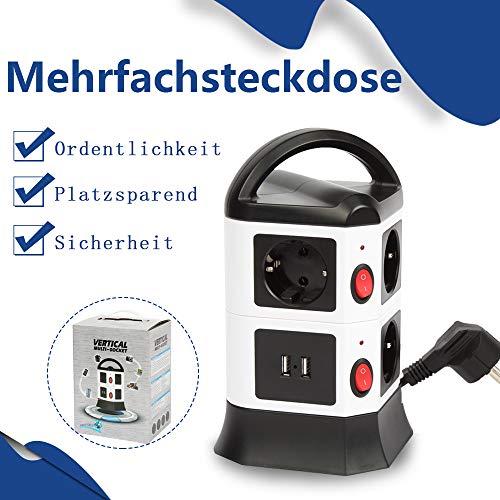 FullBerg 7 Fach Steckdosenleiste 2 USB Mehrfachsteckdose (Steckerleiste mit Kindersicherung, Schalter und 2 m Kabel) Überspannungsschutz Steckdosenverteiler Steckdosenturm für Zuhause Büro