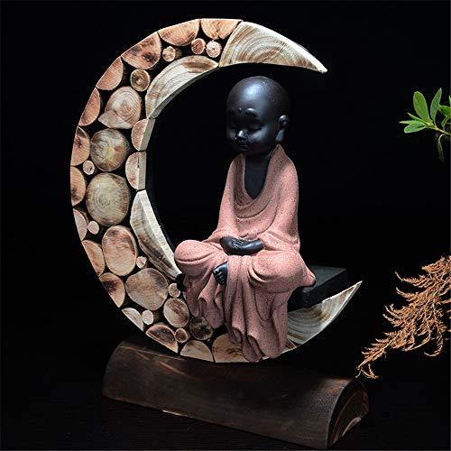 FFDGHB Kleine MöNch Buddha Statue Dekoration Keramik Ornamente Keramik Tee Haustier Farbe Sand MöNch Zeichen Dekorative Home Office Dekoration 22 * 12 cm