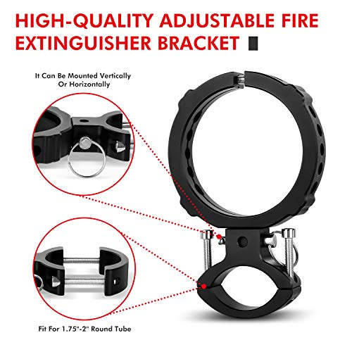 1PCS Fire Extinguisher Mount, EBESTauto Compatible for Adjustable Jeep Fire Extinguisher Bracket Fit for 3 Inch or 3.25 Inch Fire Extinguisher Bottle Bracket fit for UTV with 1.75''-2'' Round