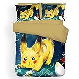 Pikachu - Juego de ropa de cama, 100 % microfibra, diseño de dibujos animados, 1 funda nórdica y 2 fundas de almohada (Pikachu3, 200 x 200 cm + 80 x 80 cm x 2)
