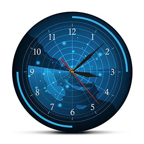 MXHJD-Mapa Reloj de Pared Radar Pantalla de Radar Azul Arte del hogar decoración de Asesinato Reloj de Pared-No_Frame