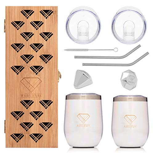 Barluxia Wine Tumbler with Lid Set of Two – 12oz Vacuum Insulated Stainless Steel Stemless Wine Glasses with Lids, Straws, Straw Cleaner, Wine Cubes & Travel Pouches in Bamboo Gift Box (White Glitter)