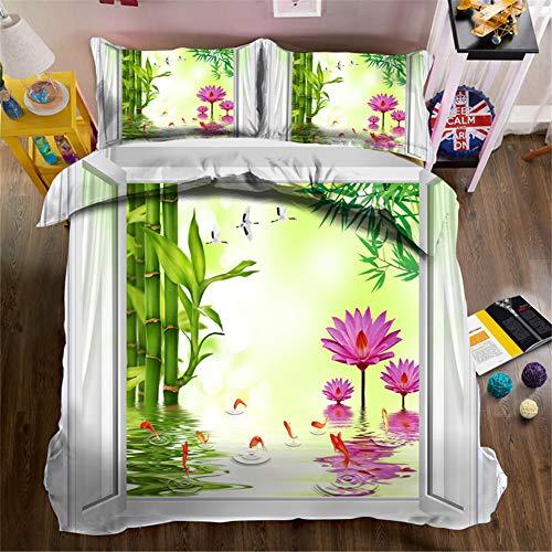 AMON LL 3D kussensloop beddengoed, Lotus en bamboe in water decoratieve dekbedovertrek kussensloop voor bruiloft
