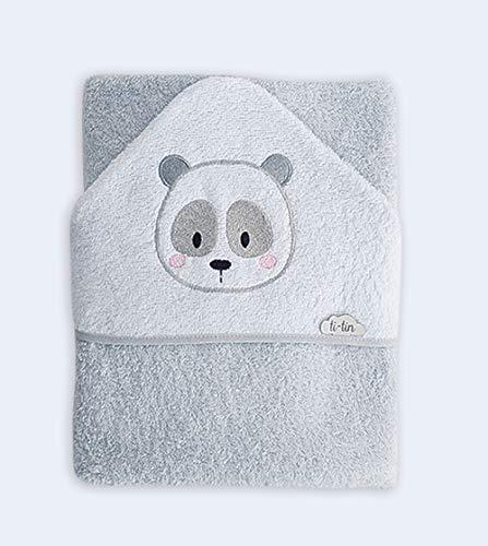 Ti-tín - Capa de baño en rizo de algodón suave y absorbente, con capucha bordada | Diseño exclusivo en color gris con bordado de oso panda