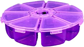 Perfeclan 9 Grids Jewelry Dividers Box Organizer Clear Plastic Case Storage Container for Beads, Jewelry, Nail Art, Small Items Crafts (Dia.10cm) - Purple