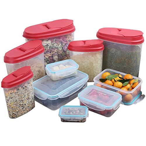esonmus (10pcs 5Pcs Contenitori per Alimenti + 5 PCS Contenitori Cereali, Senza BPA,Impilabili, Adatto per lavastoviglie, Congelatore, Microonde
