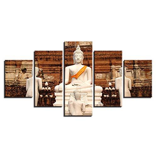 Murturall 5 Stück Drucke auf Leinwand,Weiße Buddha Statue,150x80 cm, Leinwand Gemälde Moderne Wandkunst Bilder Wohnkultur Poster