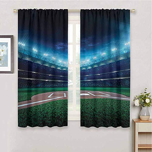 Sports Decor Premium Blackout Curtains, Curtains 84 inch Length Professional Baseball Field at Night with Spotlights Playground Stadium League Theme Soundproof Shade Green Blue W84 x L84 Inch