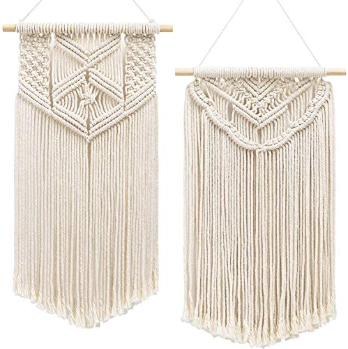 Mkouo 2 Pcs Makramee-Wandbehang Art Woven Wand Dekoration Boho Chic Home Decoration for Apartment Bedroom Living Room Gallery, 55.8cm(L) x 33cm(W) and 61cm(L) x 33cm(W)