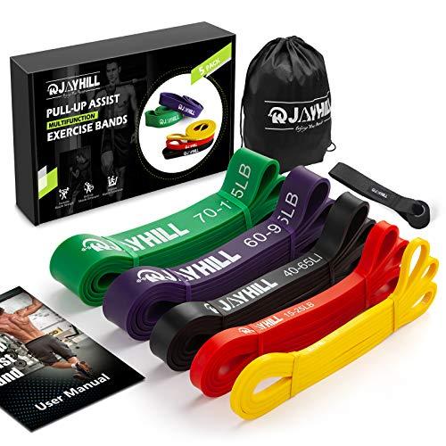 JOYHILL Widerstandsbänder Klimmzug, Fitnessbänd 5 Stärken für Terra Band, Muskelaufbau und Crossfit Freeletics Calisthenics, mit Tasche, Türanker und Übungsguide