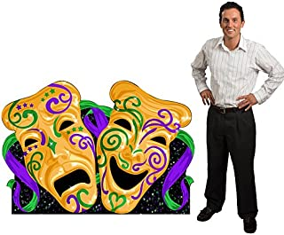 3 ft. 10 in. Mardi Gras Comedy & Tragedy Masquerade Mask Standee Standup Photo Booth Prop Background Backdrop Party Decoration Decor Scene Setter Cardboard Cutout